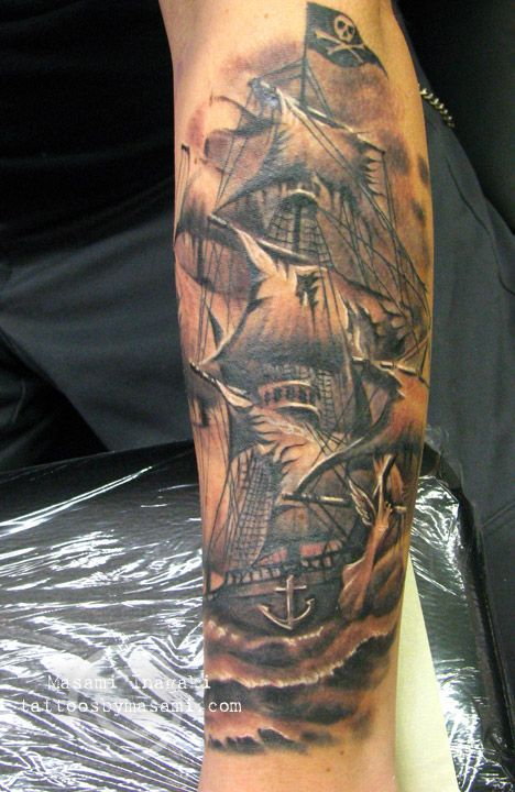 """Very cool pirate ship tattoo. It makes me think """"wild and free, and to hell with everyone elses rules""""."""