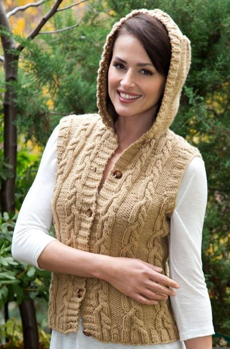 Free Knitting Pattern for Hooded Vest with Mirror Cable | dayana ...