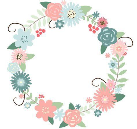 Recolored Floral Wreath Bunga Vintage Menggambar Bunga Kartu Bunga