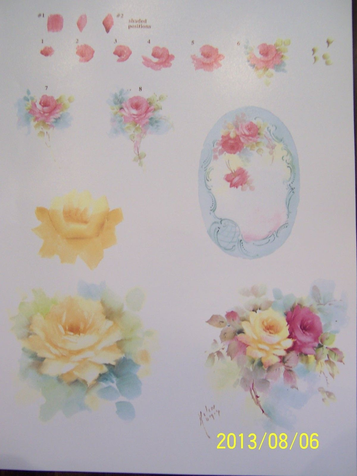 China painting study roses step by step helen humes ebay for How to paint a rose step by step