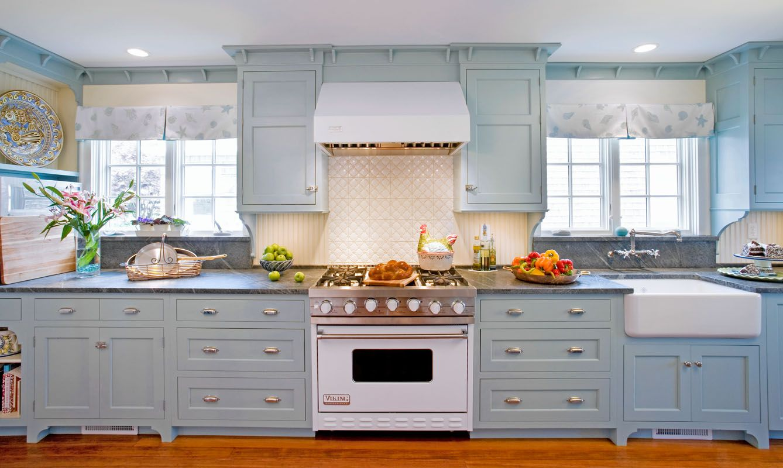 Robin S Egg Blue This Kitchen Heralds Spring Blue Kitchen Cabinets Kitchen Backsplash Tile Designs Kitchen Cabinets