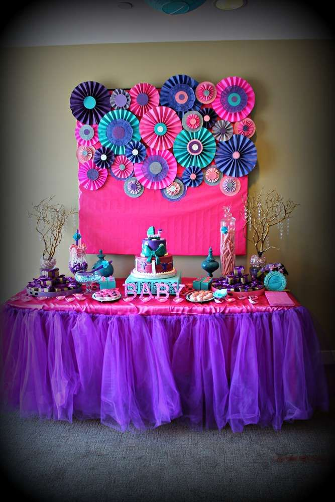 Good Pink Yellow Purple Baby Shower Part - 14: Pink Purple Turquoise, Itu0027s A Girl Baby Shower Party Ideas