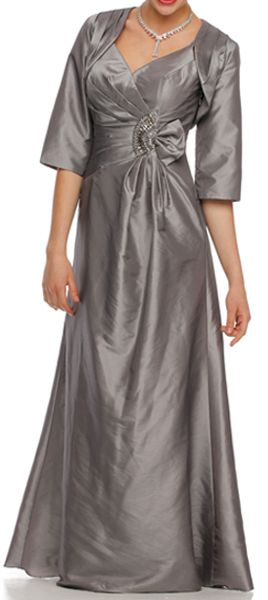 Silver Mother of Groom Gown Matching Bolero Jacket Taffeta V Neck