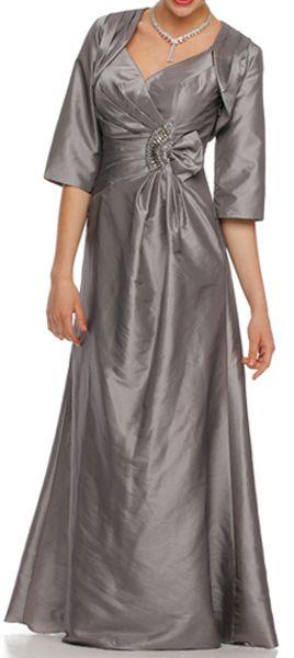 Silver Mother of Groom Gown Matching Bolero Jacket Taffeta V Neck