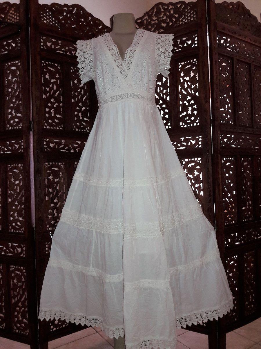 c50364554175 vestido longo algodão lese renda gripir festa no Elo7 | Belíssima Moda  Criativa Bordados e Rendas