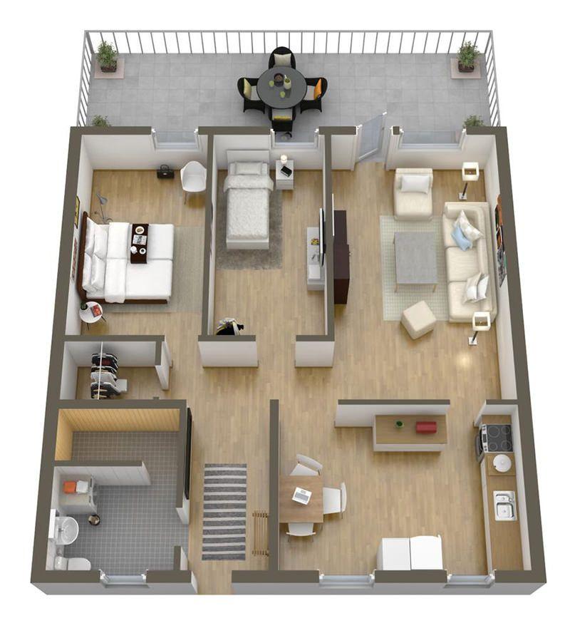 20 plantas de apartamentos de 2 quartos Planta de casas