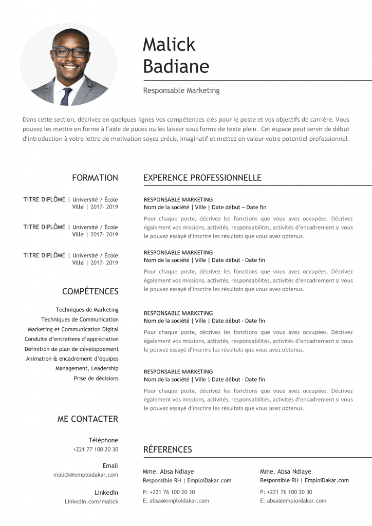 Exemple De Cv Responsable Marketing Directeur Marketing Lettre De Motivation Modele Cv Word Exemple Cv