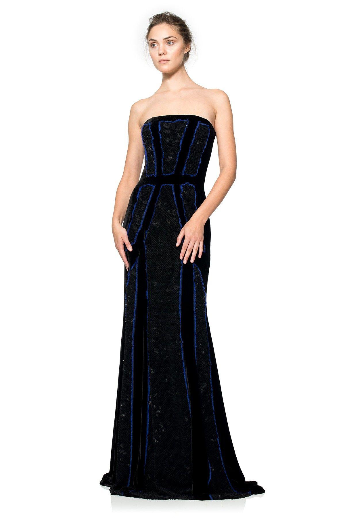 014e74d5ae1 Black Velvet Strapless Evening Dress - Gomes Weine AG