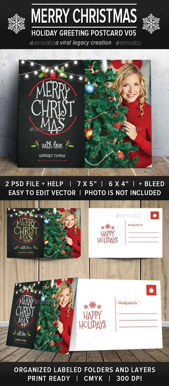 A festive, photo greeting card that can be sent as either a flat or ...