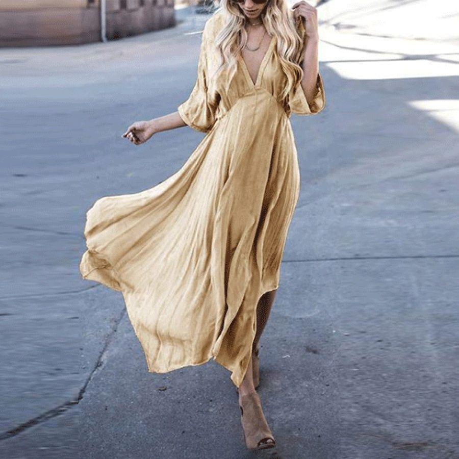 Asymmetric deep vneck maxi dress blog jeane carneiro popreal