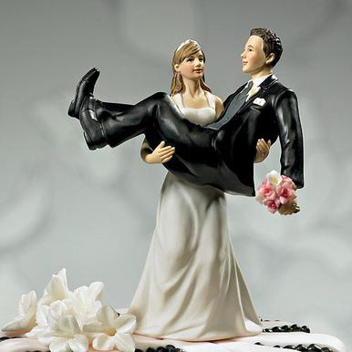 Bride Holding Groom Cake Topper