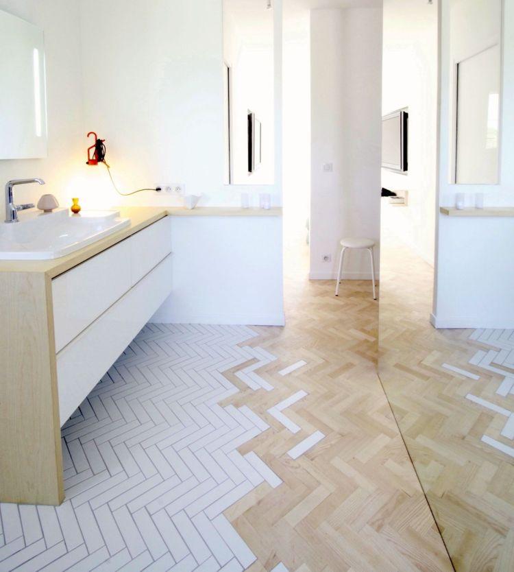 Parkett Und Fliesen Kombinieren So Schaffen Sie Nahtlosen Ubergang Parkett Verlegen Badezimmer Dekor Diy Parkett