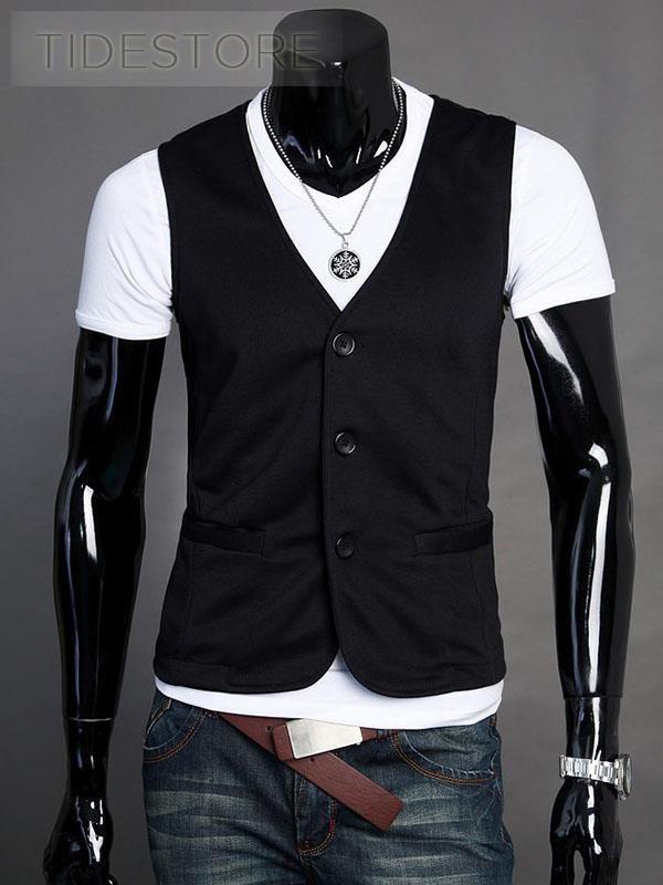 Plain Button Down Men's Vest $14.19   Plain Button Down Men's Vest