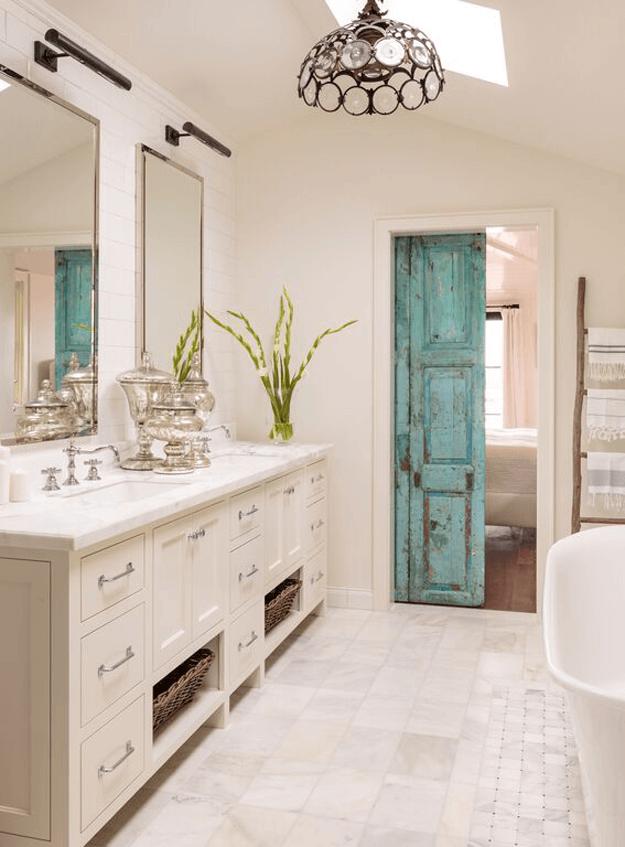 rustic green bathroom design ideas | SHERWIN WILLIAMS REFLECTING POOL | Bathroom interior ...