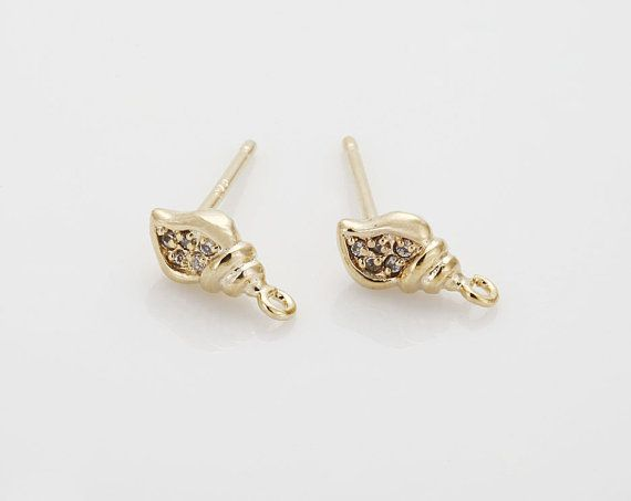 Vacation Jewelry Cubic Conch Post Earring ,Sterling Silver Post, jewelry Making, Polished Gold- Plated - 2 Pieces [E0220-PG]