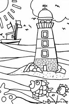 Printable Lighthouse Beach Coloring Pages Beach Coloring Pages