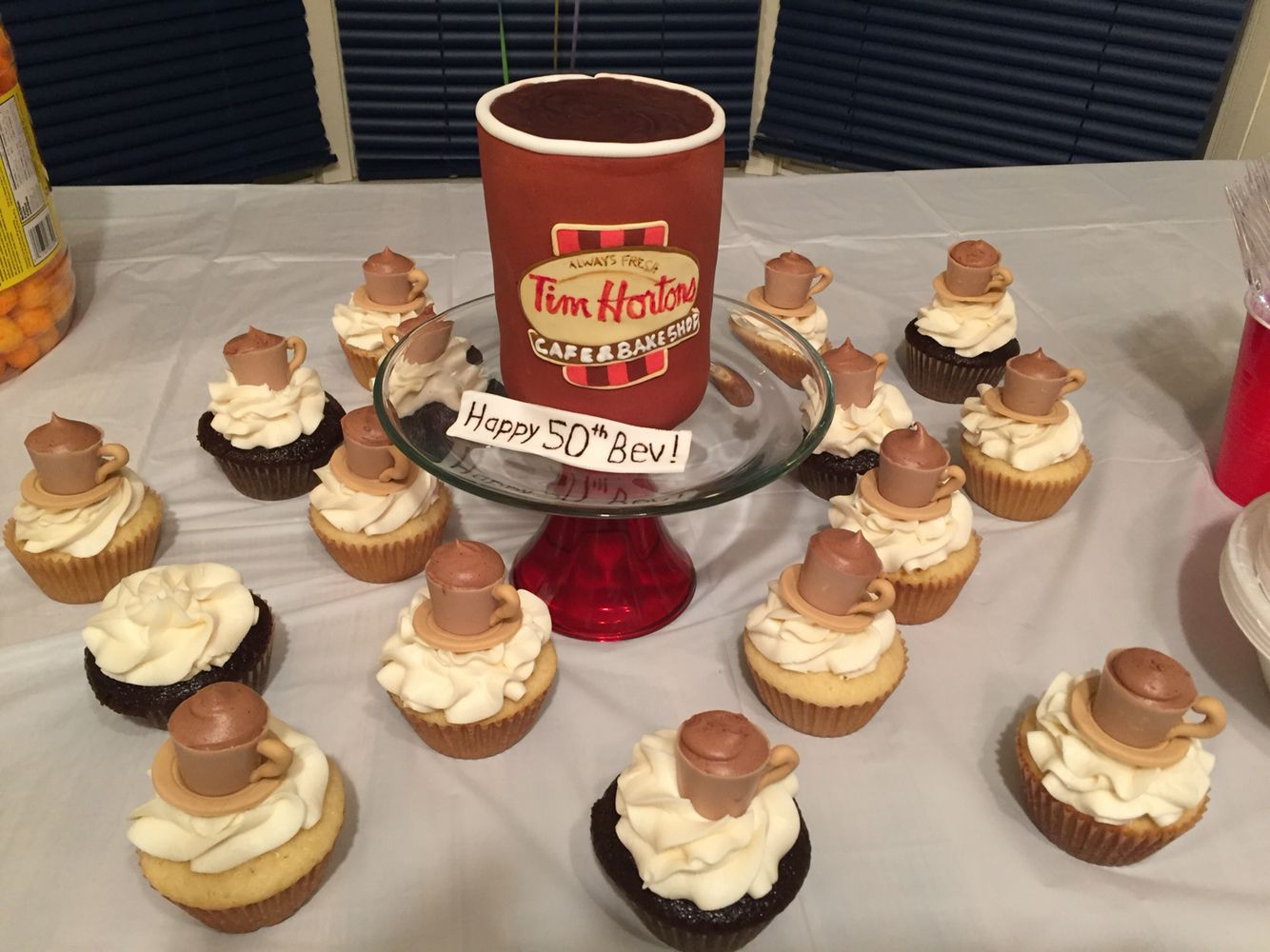 Tim Hortons Cup Birthday Cake And Cupcakes With Coffee Mug Toppers