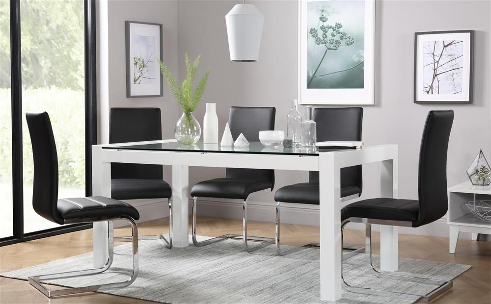 7400bc30db728 Venice White High Gloss and Glass Dining Table and 4 Chairs Set (Perth Black )