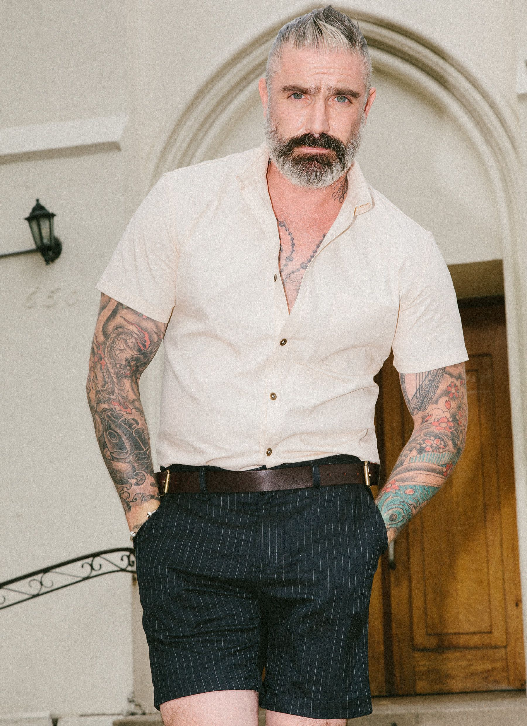 Solid short sleeve button up style of beards pinterest sale