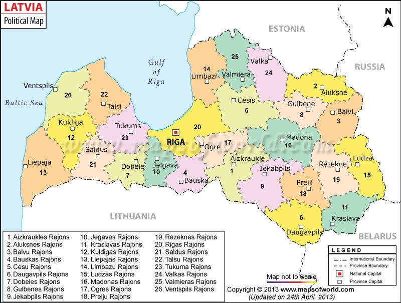 Political Map of Latvia  Political Map  Pinterest  City