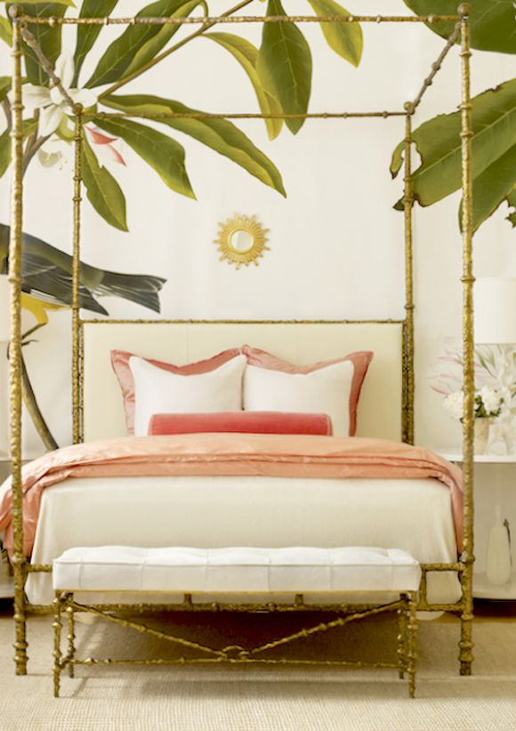 Bedroom Bliss Palm Leaf Wallpaper And A Gold Bamboo Motif Canopy Bed