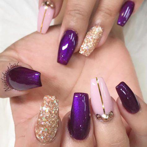 Gel Nail Art Polish Trends Part five 2018   Purple nail designs, Purple nail  and Gel nail art - Gel Nail Art Polish Trends Part Five 2018 Purple Nail Designs