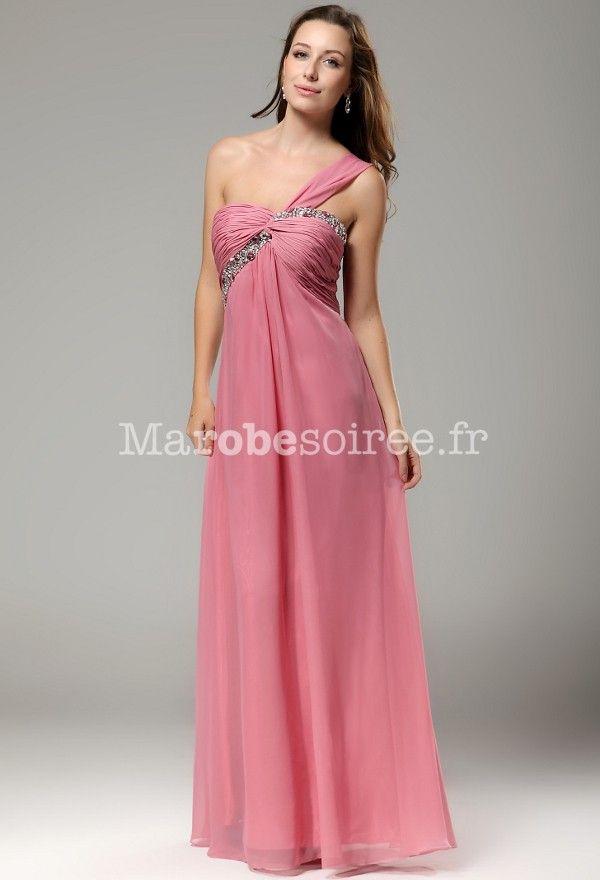 Robe de cocktail longue rose poudre