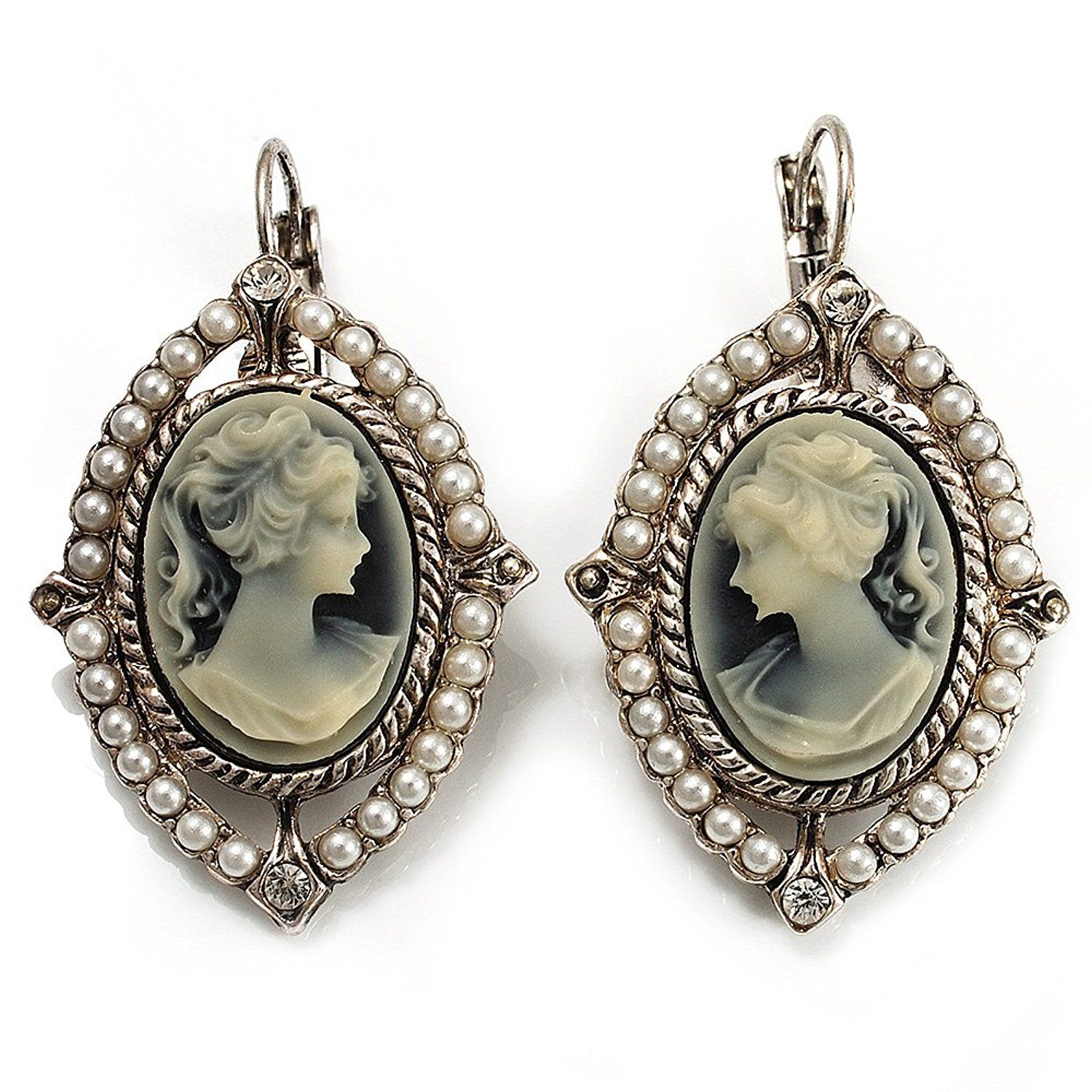 Vintage Cameo Imitation Pearl Drop Earrings (Burn Silver) PatvN