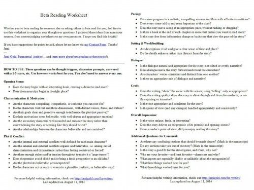 Introducing the Beta Reading Worksheet | Pinterest | Reading ...