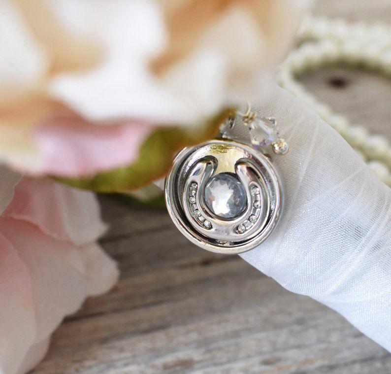 Crystal horseshoe bouquet charm brides lucky horseshoe for