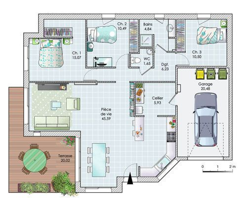 Une maison de plain-pied en Vendée Architecture design - maison de 100m2 plan