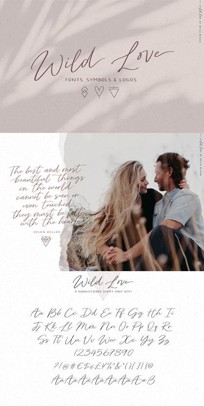 Wild love  collection of fonts symbols logos  textures This collection comes with two fonts that pair perfectly together and a set of symbol illustrations that will make...