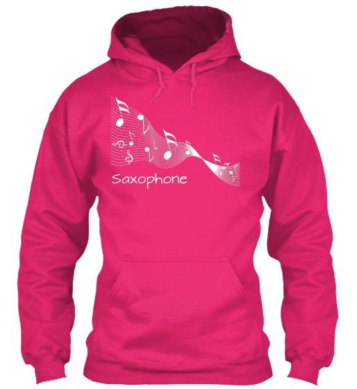 Saxophone Music Ribbon Tee - White Lettering - Hoodie