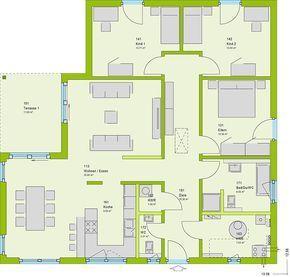 aufteilung von k che essbereich und wohnzimmer haus pinterest haus bungalow und haus. Black Bedroom Furniture Sets. Home Design Ideas