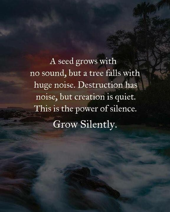 A seed grows with no sound but a tree falls with huge noise ...