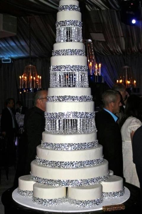 Multi tear white crystal wedding cake