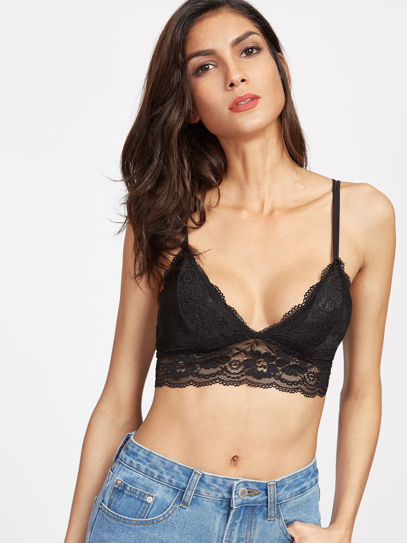 8fdee29076929c Shop Strappy Back Crochet Lace Overlay Bra online. SheIn offers Strappy  Back Crochet Lace Overlay Bra   more to fit your fashionable needs.