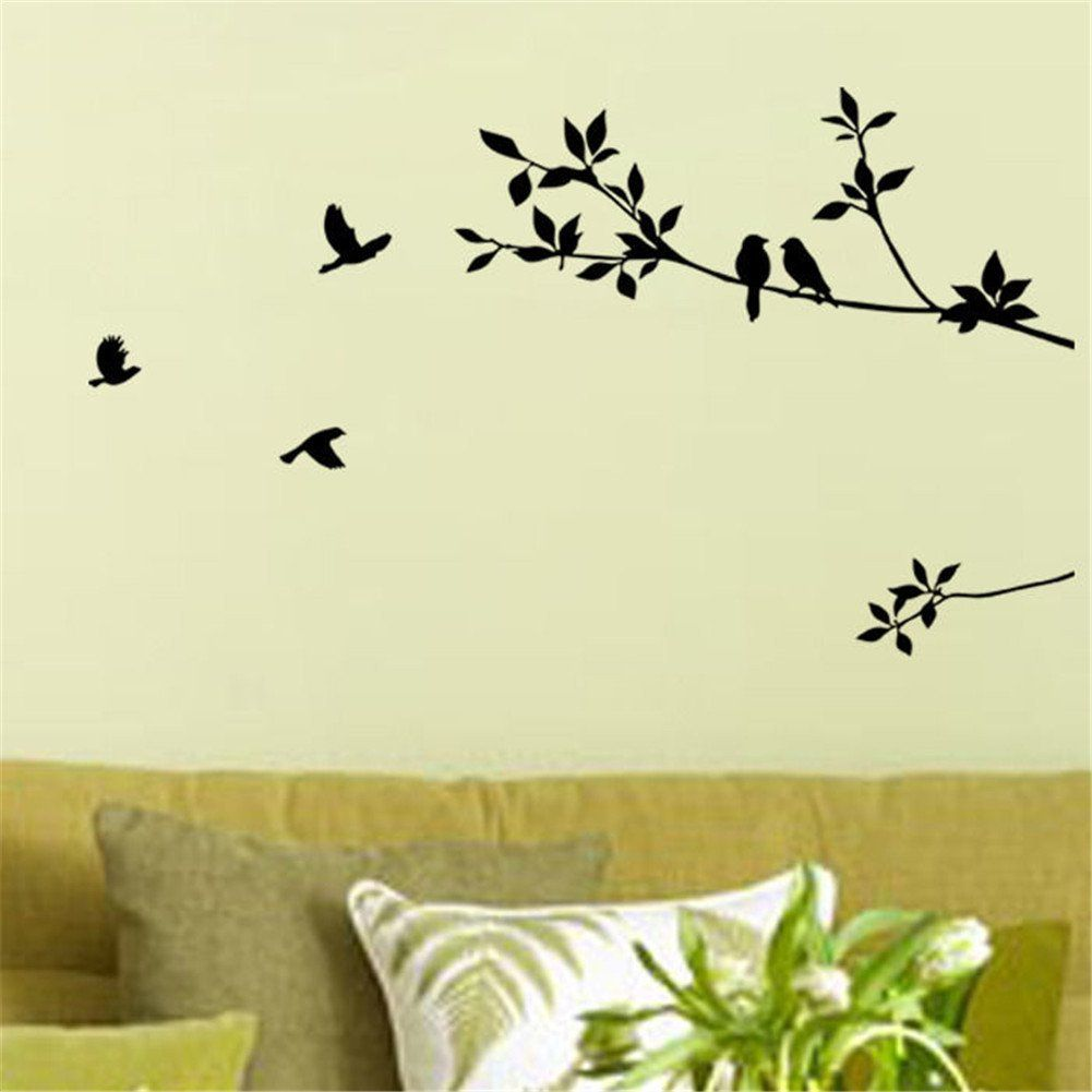 Amazon.com - 1 X Birds Flying Black Tree Branches Wall Sticker Vinyl ...
