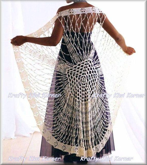 Crochet Lace Spider Web Shawl Shrug Made to by KraftytKiwiKorner