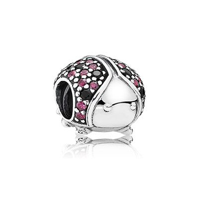 PANDORA | Ladybird pave silver charm with fancy red cubic zirconia ...