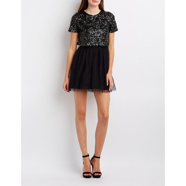 Charlotte Russe Sequin & Tulle Skater Dress ($31) ❤ liked on Polyvore featuring dresses, black, short-sleeve skater dresses, short-sleeve dresses, skater dress, short sleeve dress and sequin dresses