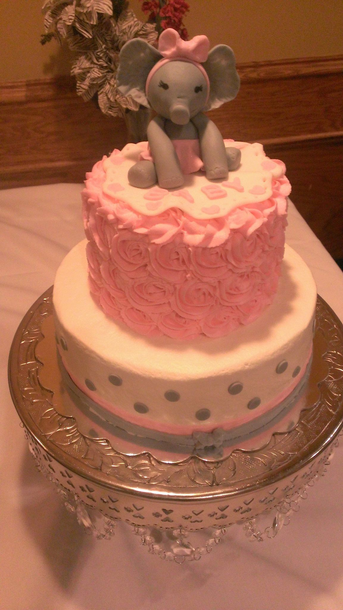 Buttercream baby shower cake I made pink grey with baby girl