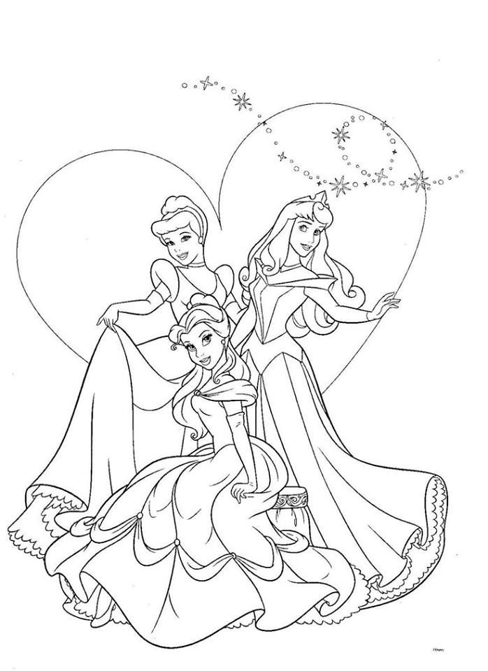 Cinderella Aurora And Belle Disney Princess Coloring Pages