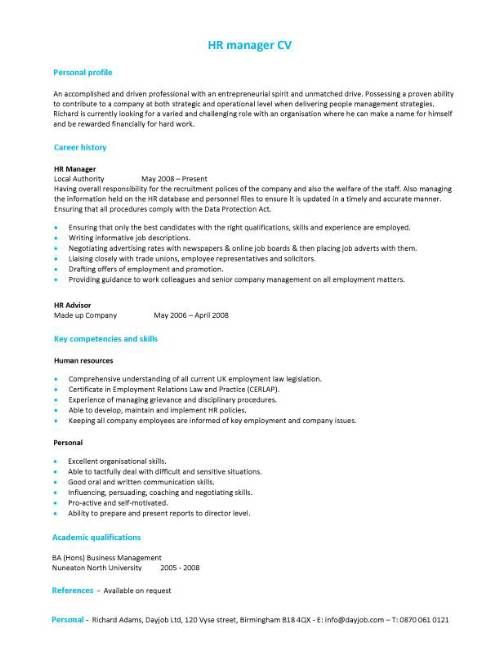 a hr manager cv template with a simple but eye catching design