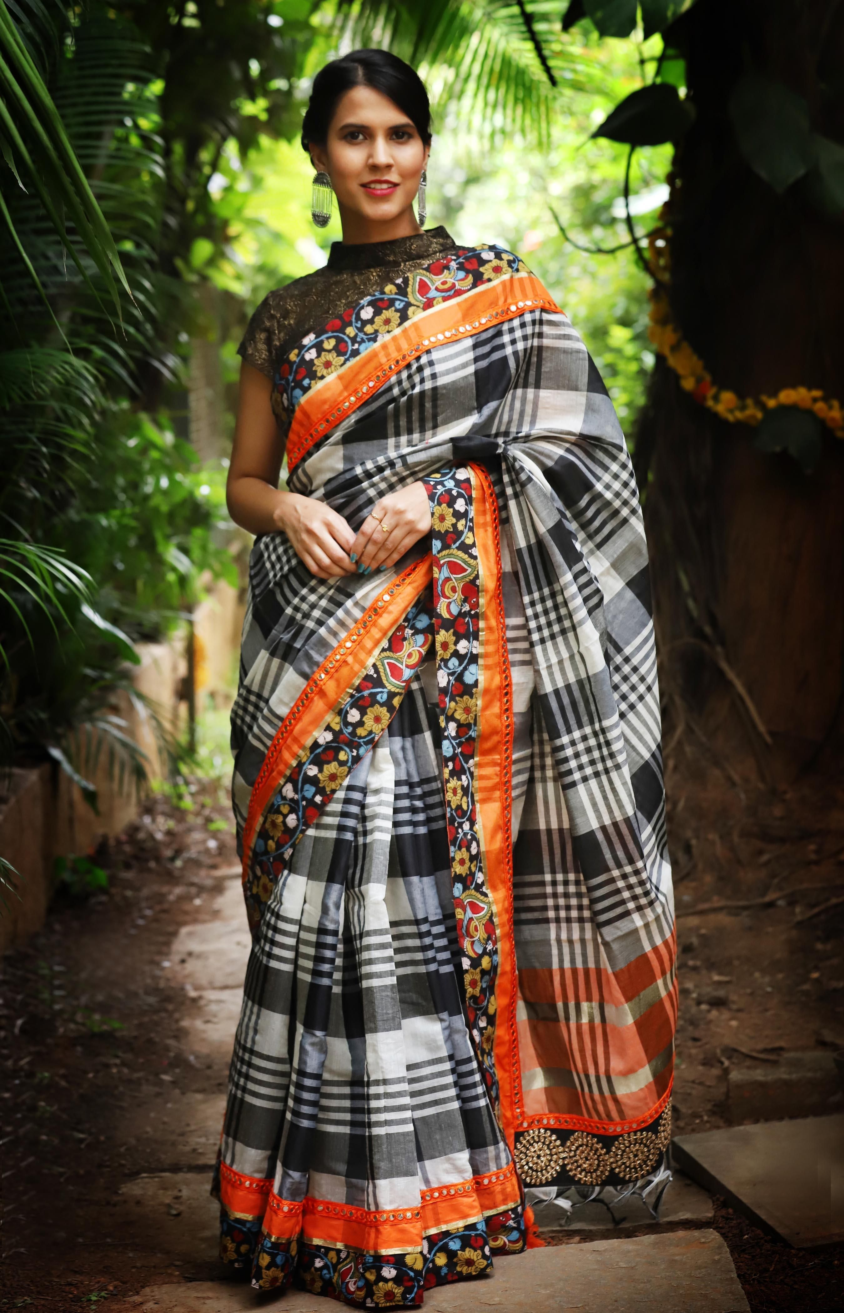 d6dc958ab83a3a Black and white checked cotton saree with orange mirror work border and handpainted  kalamkari pallu #saree #blouse #houseofblouse #indian #bollywood #style ...