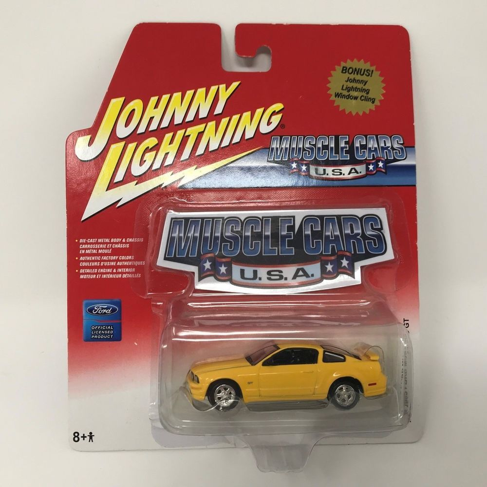 2005 Johnny Lightning Muscle Die Cast Car Yellow Ford Mustang Gt Scale 1 64 Johnnylightning Ford Ford Mustang Gt Lightning Cars Mustang