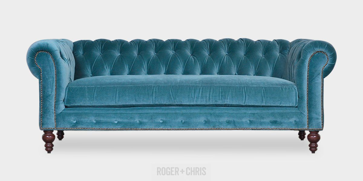 Marvelous Aqua Tufted Sofa Teal Blue Velvet Chesterfield