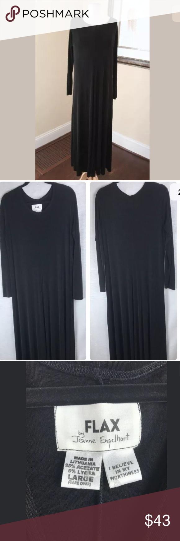 Keim Pre Owned >> Flax Black Knit Long Sleeve Midi Maxi Dress L Flax Black