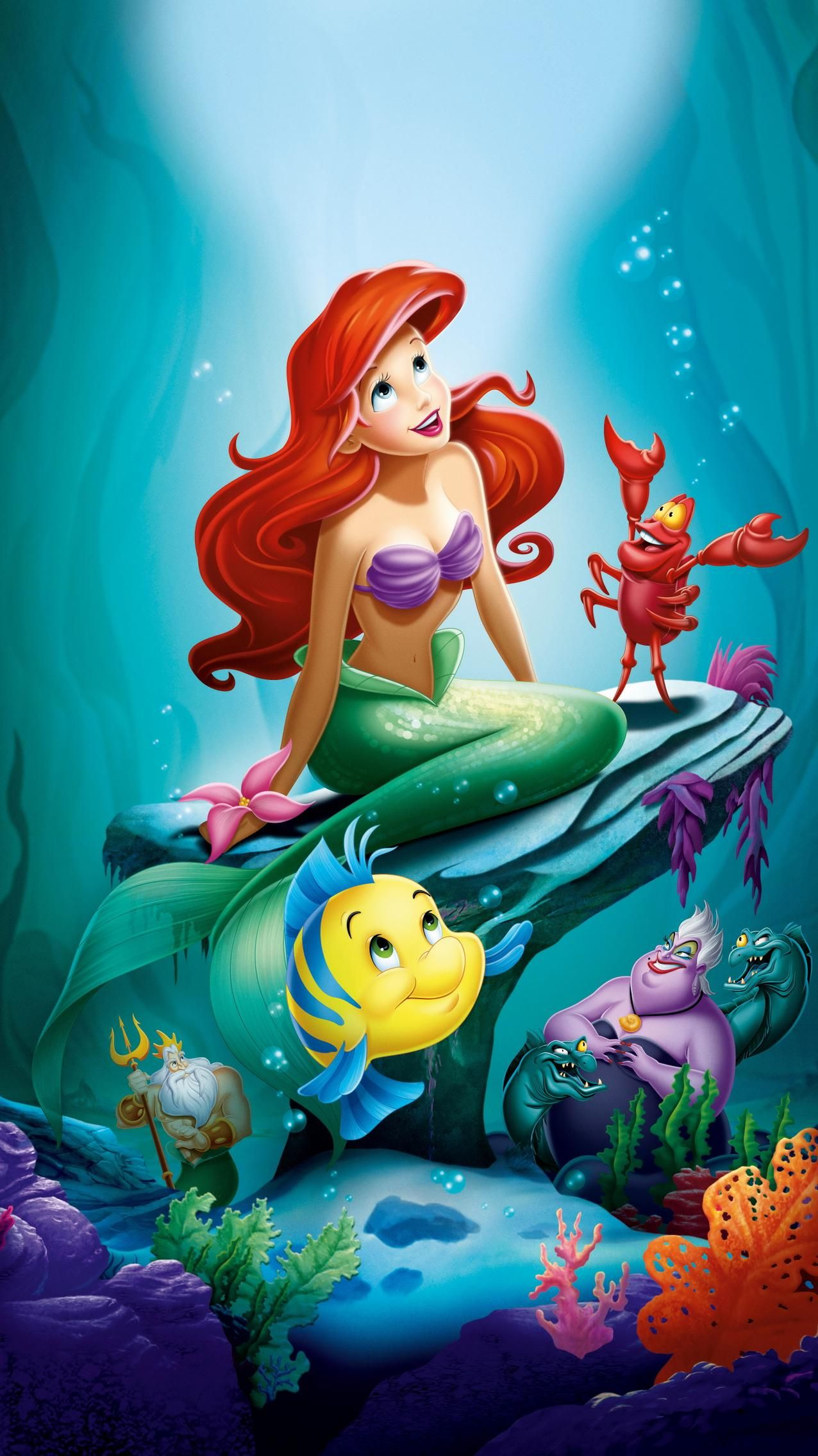 The Little Mermaid 1989 Phone Wallpaper Moviemania Little Mermaid Wallpaper Disney Princess Background Mermaid Wallpapers