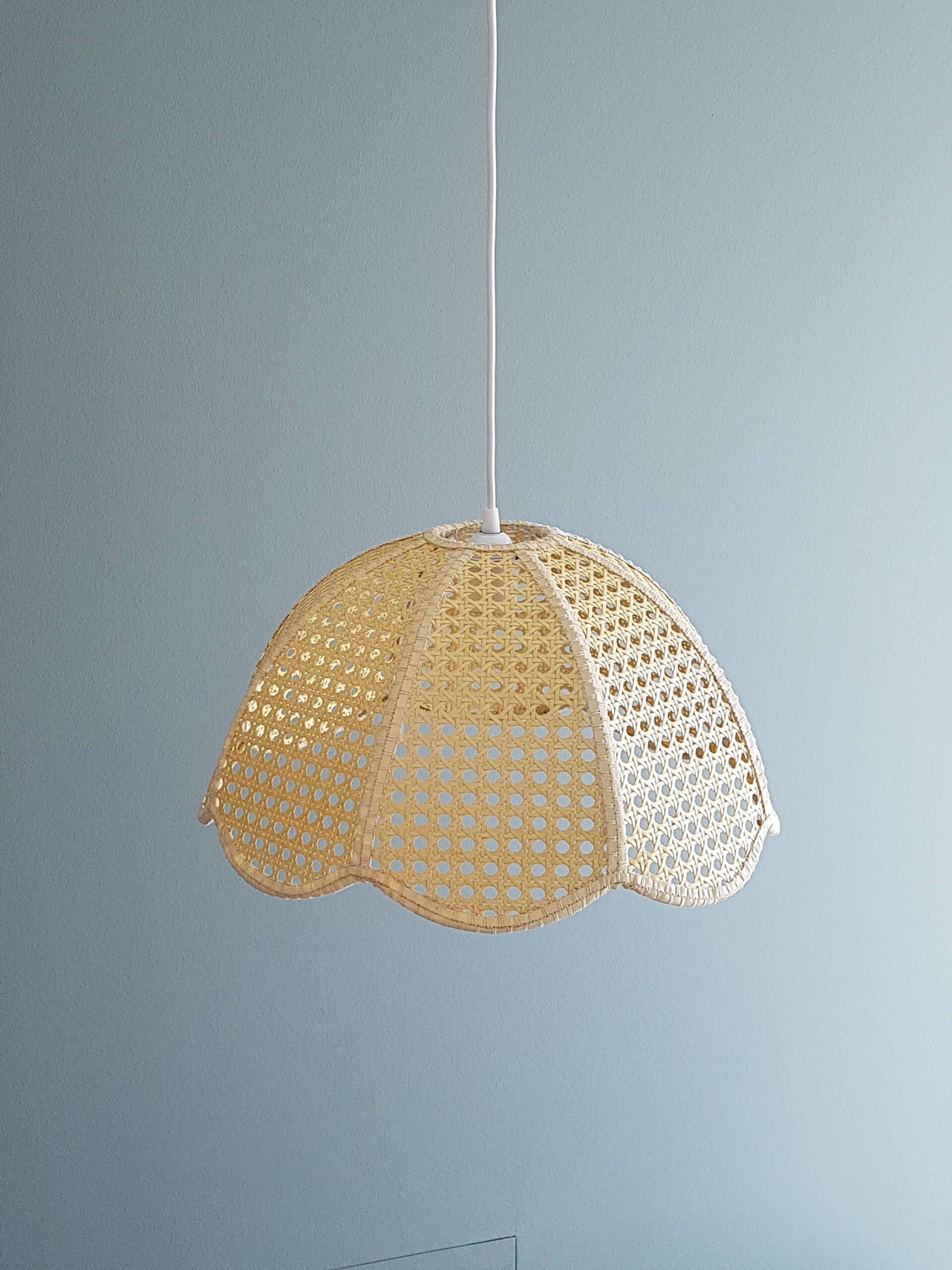 Rattan Home Decor Vintage Venetian Braid Lamp Shade From Etsy Nonagon Style Lampshadechandelier